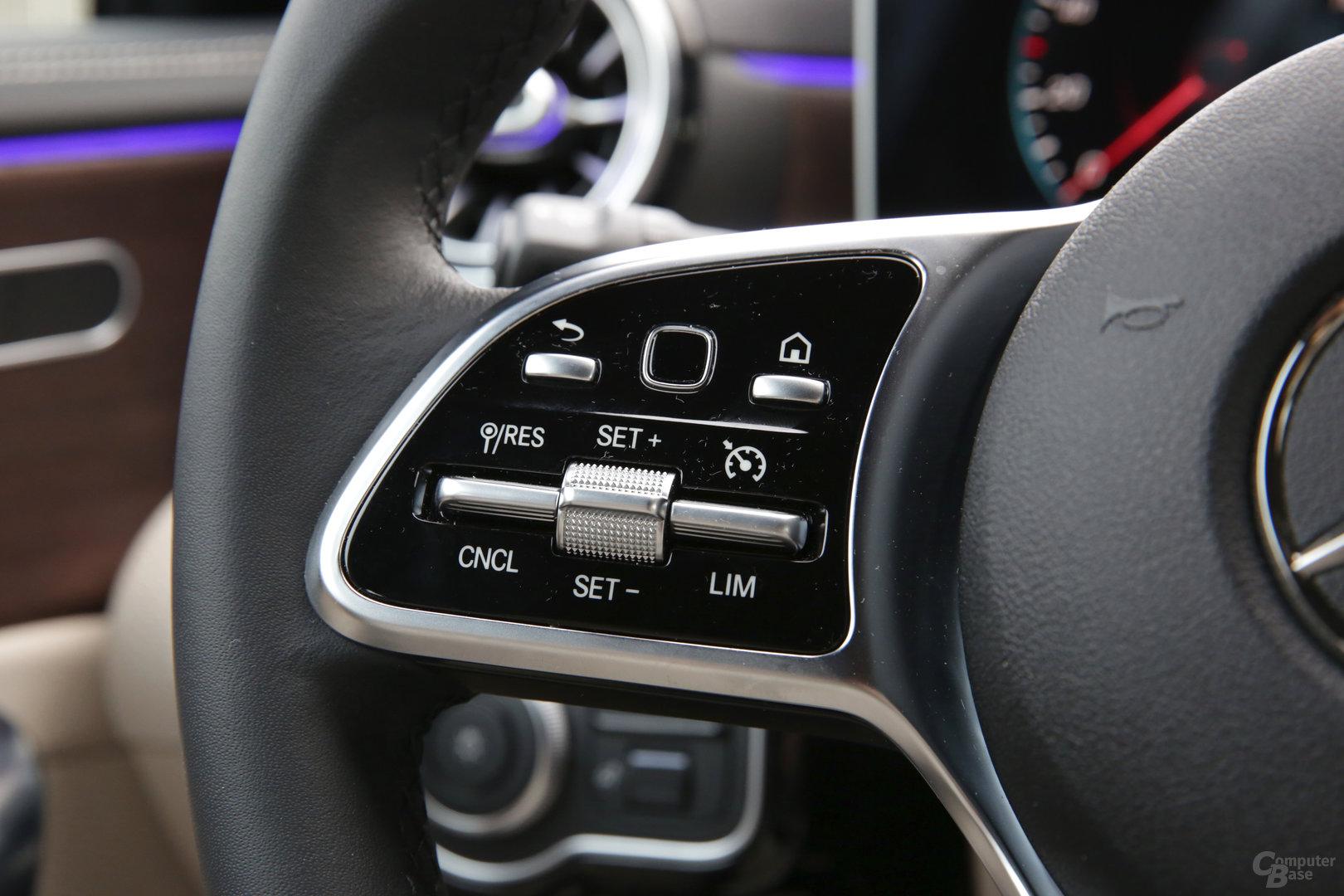 Linker Bereich mit Zurück, Touch-Schalter und Home-Taste