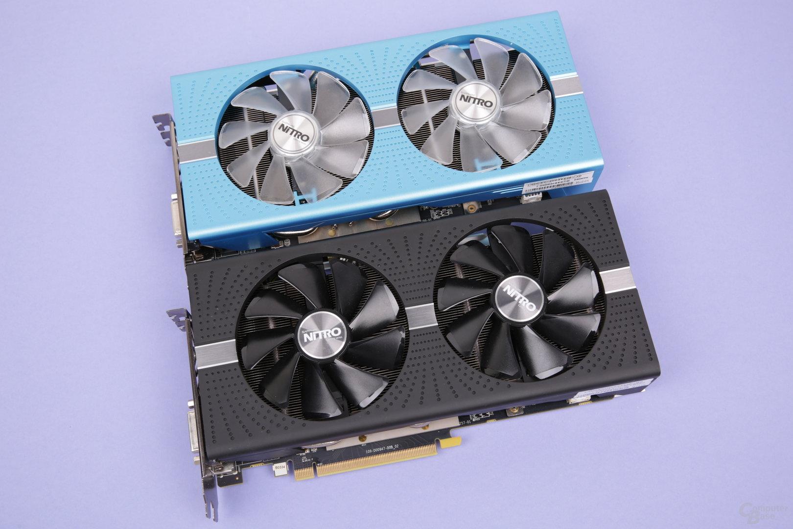 Radeon RX 590 Nitro+ (oben) und RX 580 Nitro+ (unten) von Sapphire