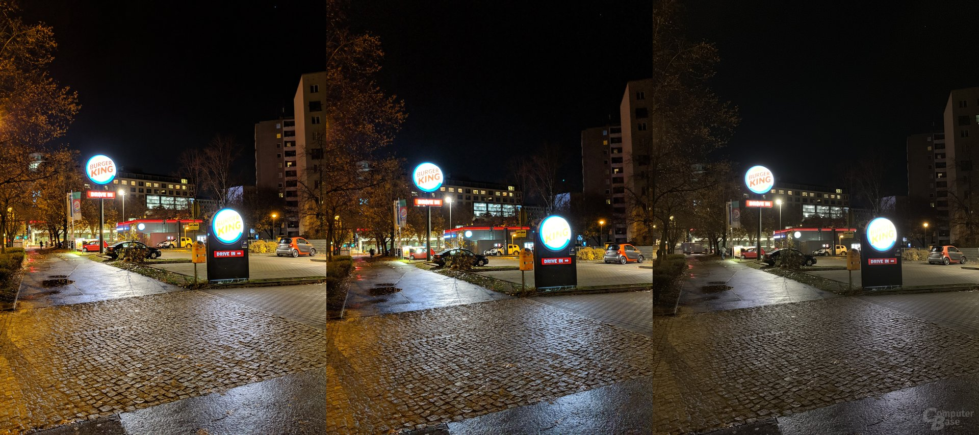 Pixel 3 XL mit Night Sight, Pixel 3 XL ohne Night Sight, iPhone Xs Max