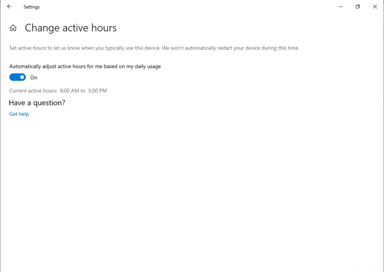 Dynamische Anpassung der aktiven Stunden für Windows Update