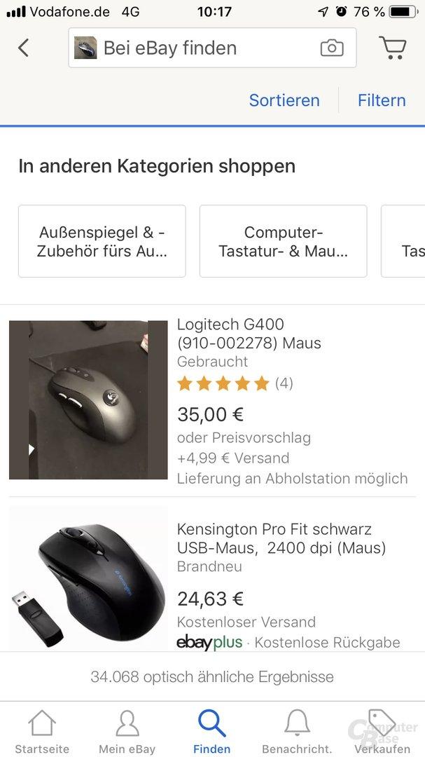 eBay Bildsuche: Fotografierte Maus Logitech M500