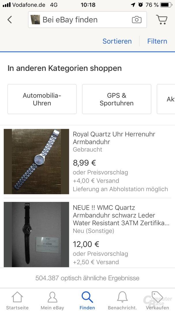 eBay Bildsuche: Fotografierte Smartwatch Withings Steel HR Sport