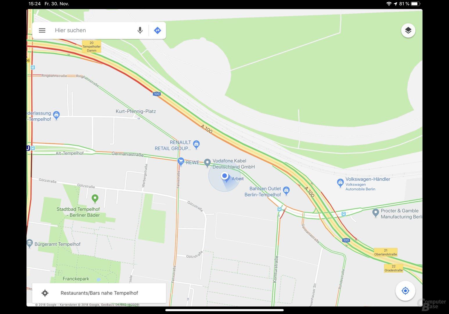 Beispiel für noch nicht angepasste App: Google Maps