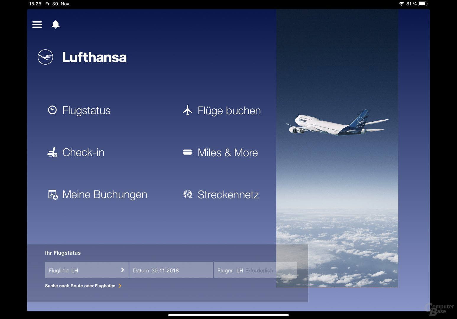 Beispiel für noch nicht angepasste App: Lufthansa
