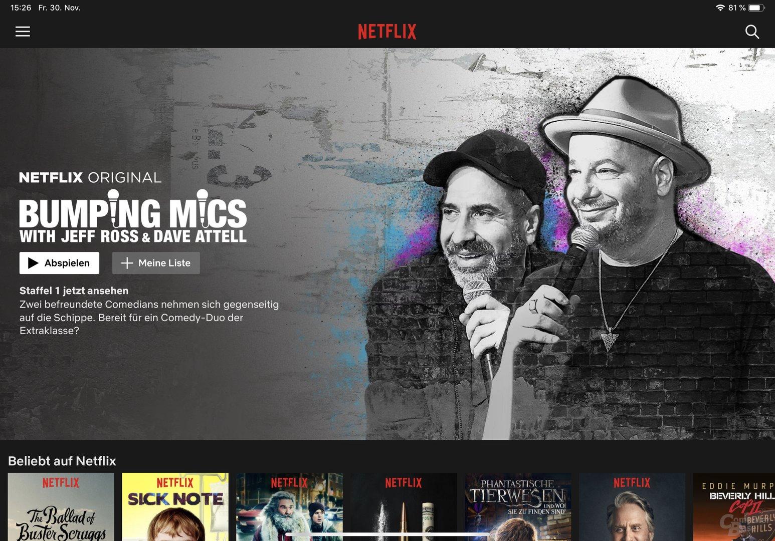 Beispiel für angepasste App: Netflix