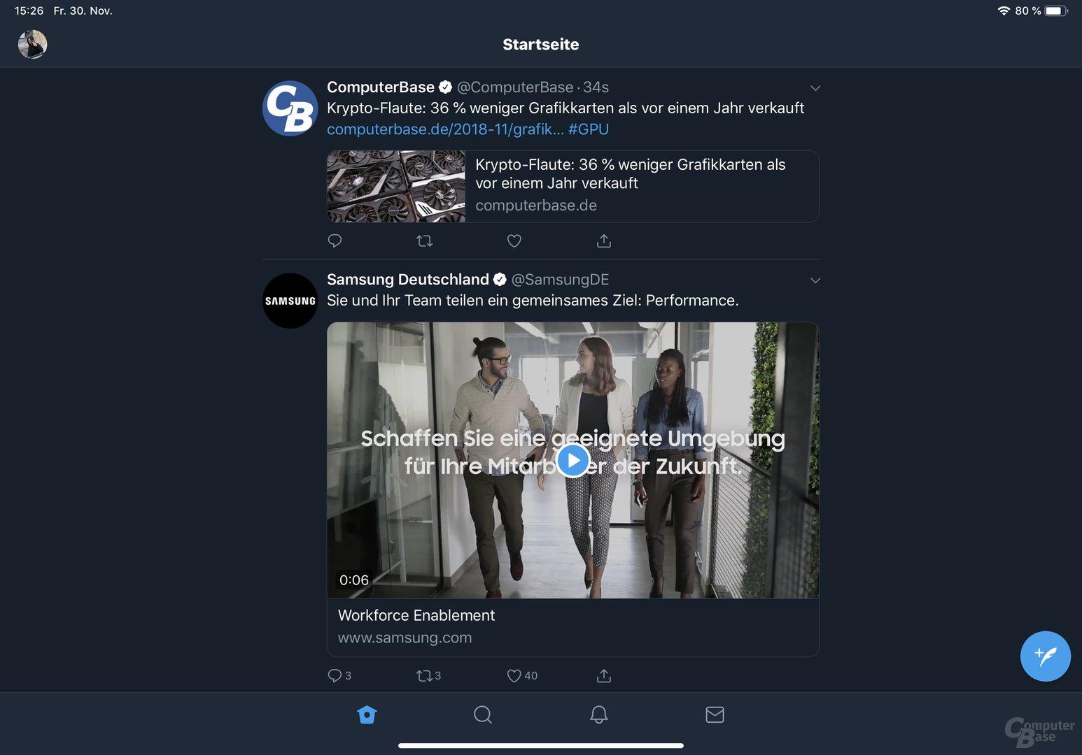 Beispiel für angepasste App: Twitter