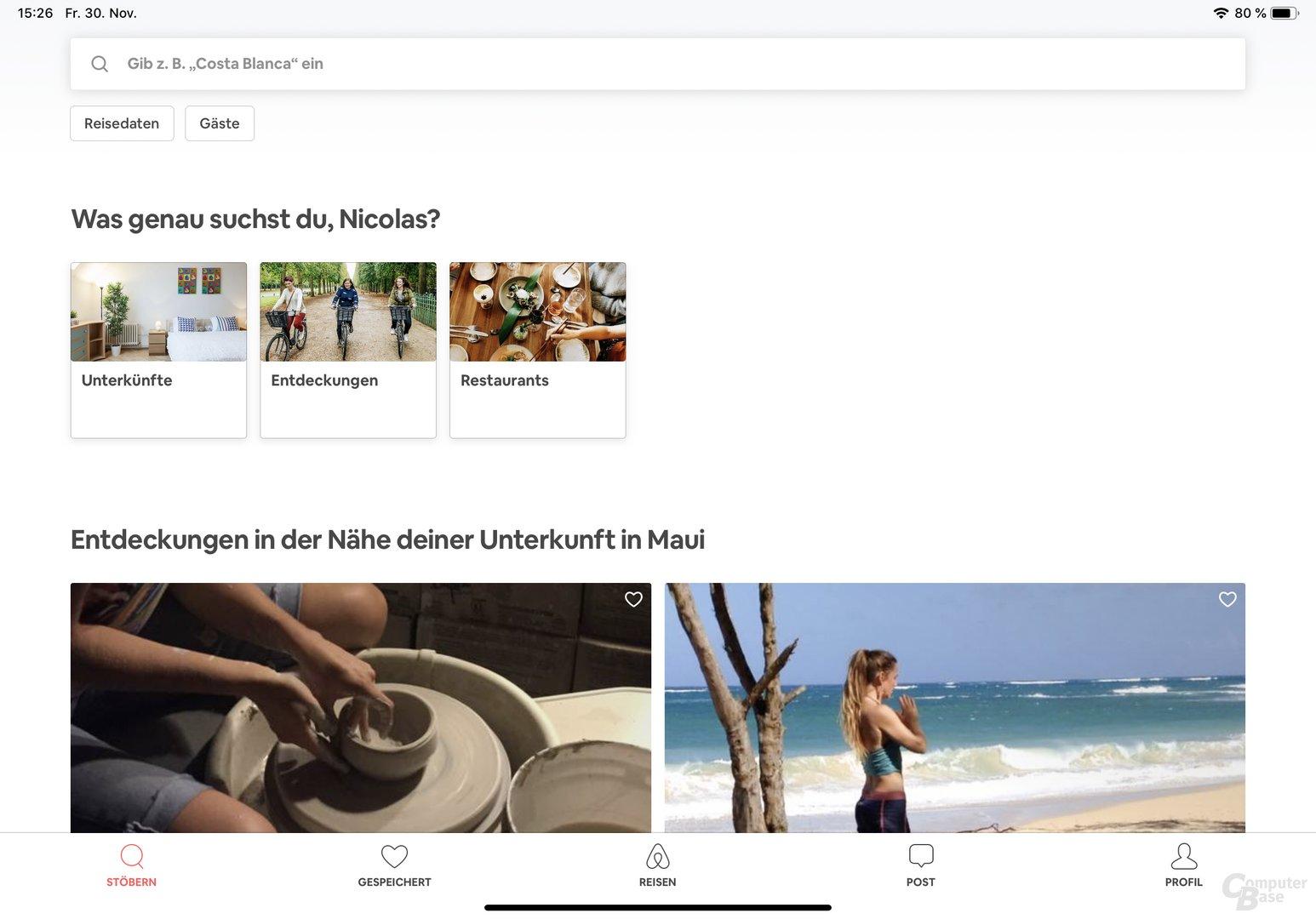 Beispiel für angepasste App: Airbnb