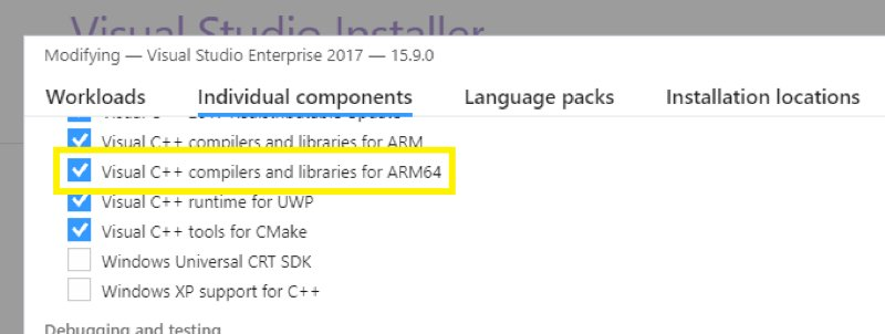 Neue Komponente Visual C++ compilers and libraries for ARM64