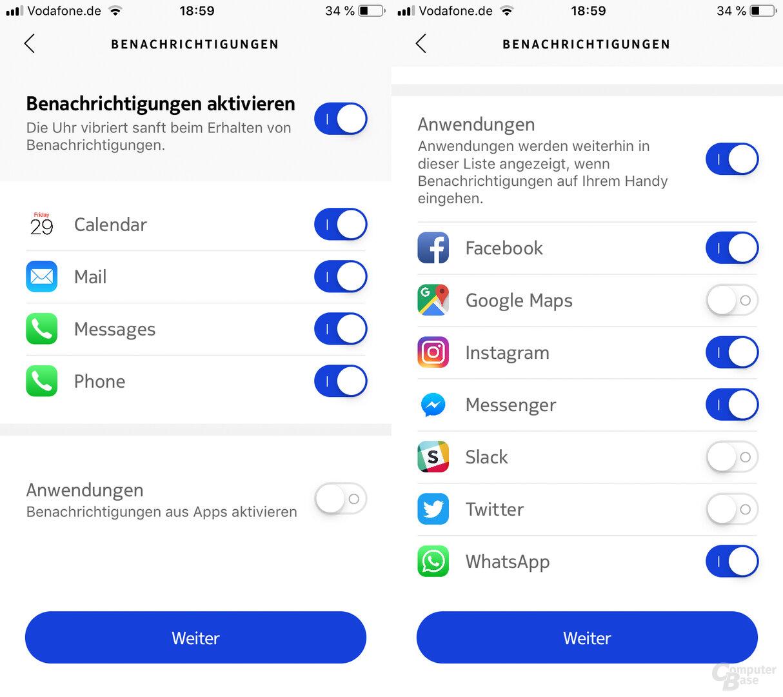 Withings Health-Mate-App: Benachrichtigungen