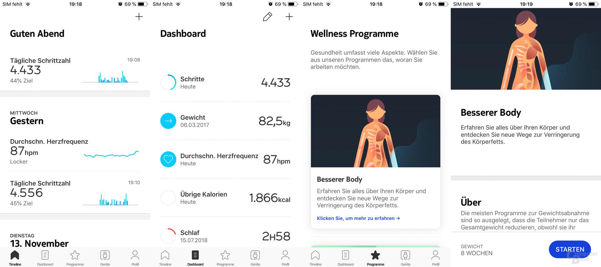 Withings Health-Mate-App: Hauptmenü
