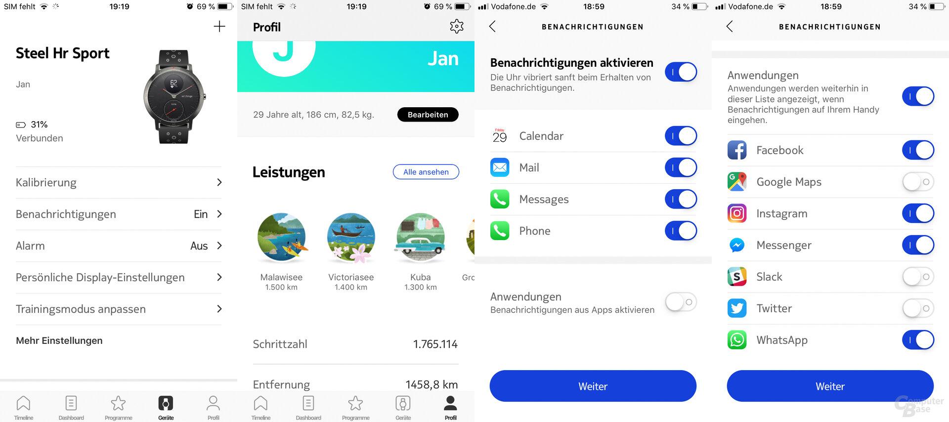 Withings Health-Mate-App: Einstellungen und Benachrichtigungen