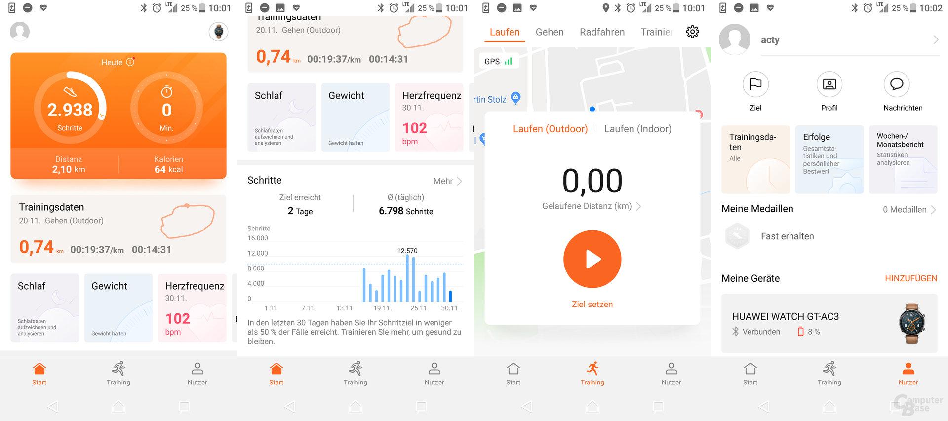 Health-App: Menüübersicht