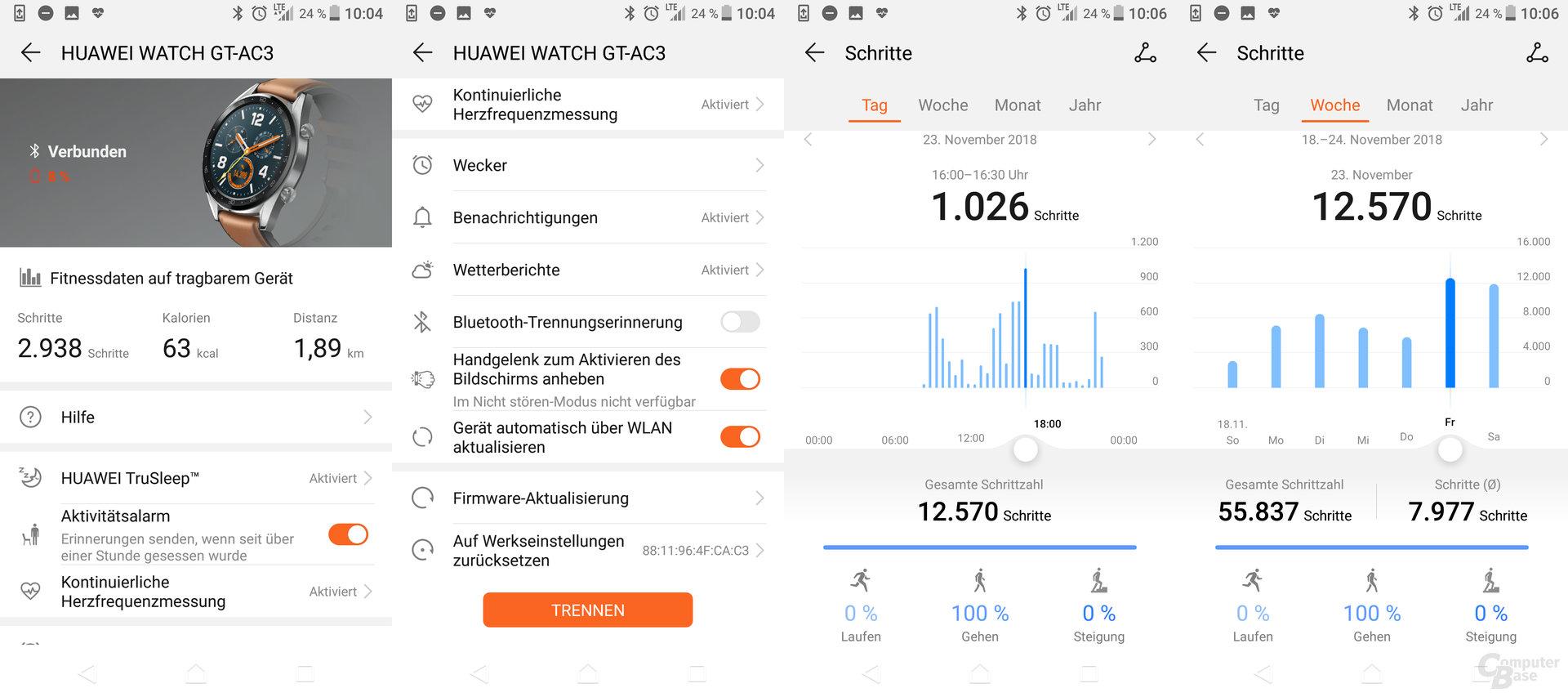 Health-App: Einstellungen und Schrittübersicht