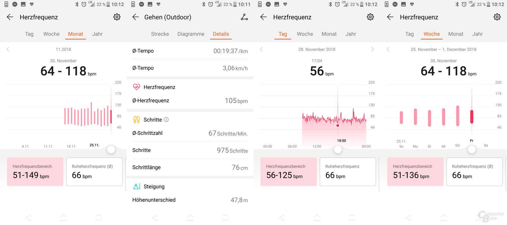 Health-App: Herzfrequenzübersicht