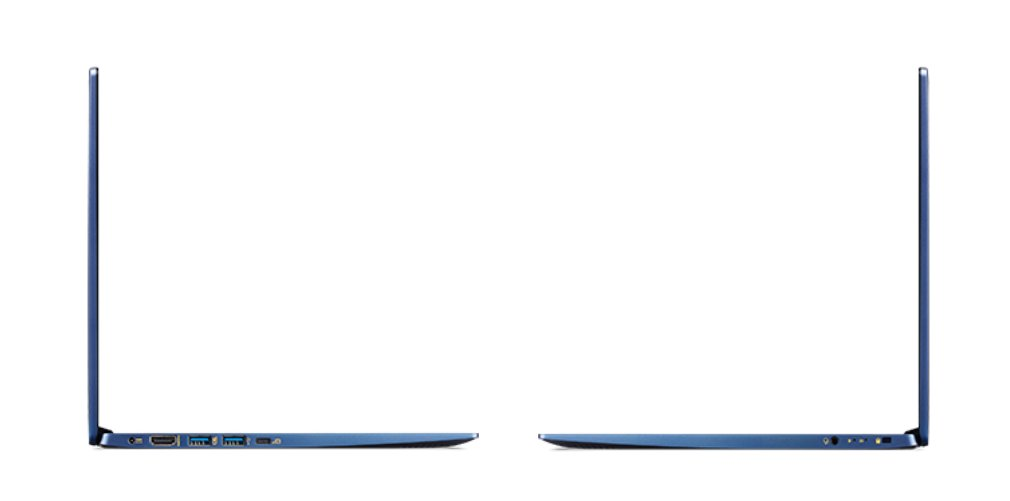 Anschlüsse am Swift 5 15,6 Zoll: Laden, HDMI, 2 x USB Typ A, 1 x USB Typ C (DP), 3,5 mm Klinke, Kensington Lock
