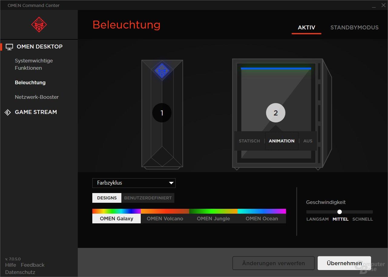 Auch die verbaute RGB-Beleuchtung (hier Logo am Gehäuse und LED-Streifen im Gehäuse) lässt sich hier anpassen