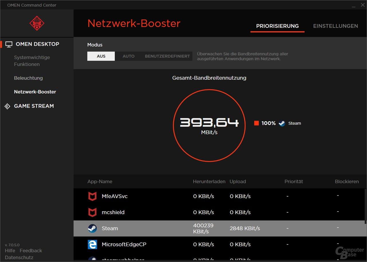 Das Omen Command Center kann auch den Netzwerk-Traffic priorisieren