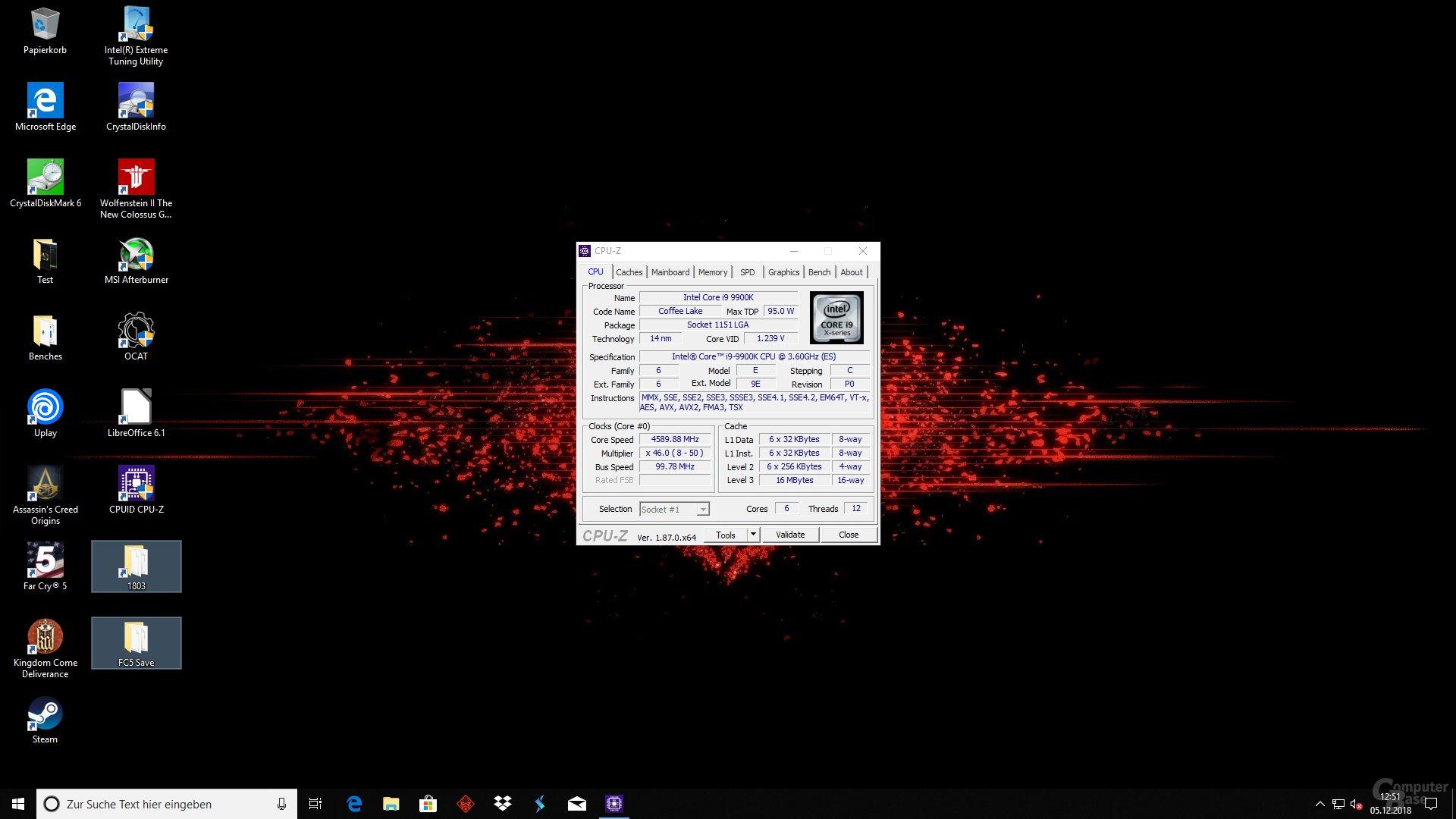 Der Core i9-9900K wird erkannt, aber nicht korrekt angesprochen