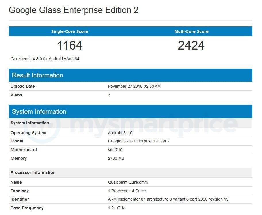 Google Glass Enterprise Edition 2 im Geekbench aufgetaucht