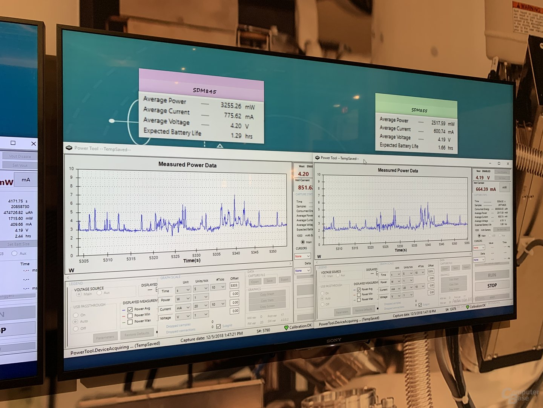 Energiebedarf von Adreno 630 (links) und 640 (rechts) in PUBG