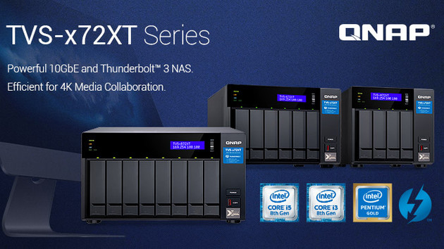 QNAP TVS‑872XT: NAS mit Core i5-8400T, 10GbE, TB 3, M.2 und dGPU-Option