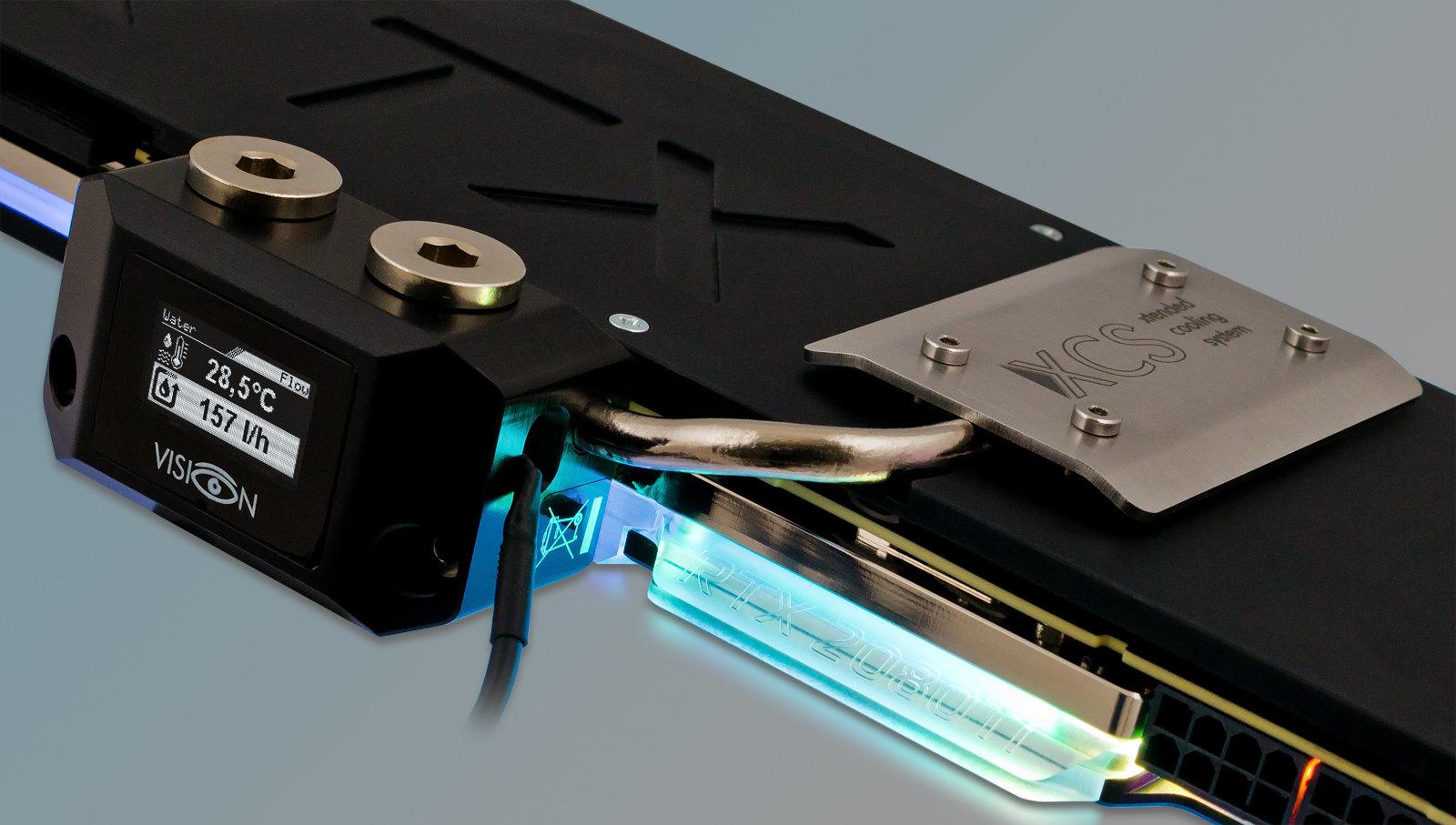 Aqua Computer Kryographics Next RTX 2080 Ti mit Vision-Anschlussterminal