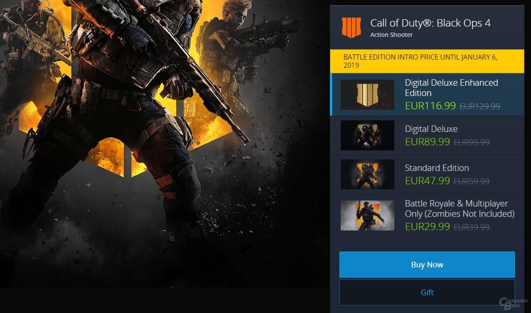 Als Battle Edition wird Black Ops IIII für knapp 30 Euro angeboten