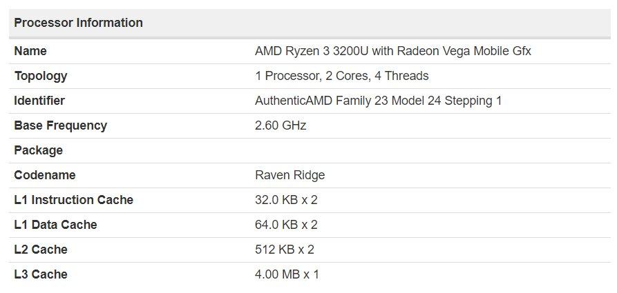 AMD Ryzen 3 3200U (Picasso) in Geekbench-Datenbank