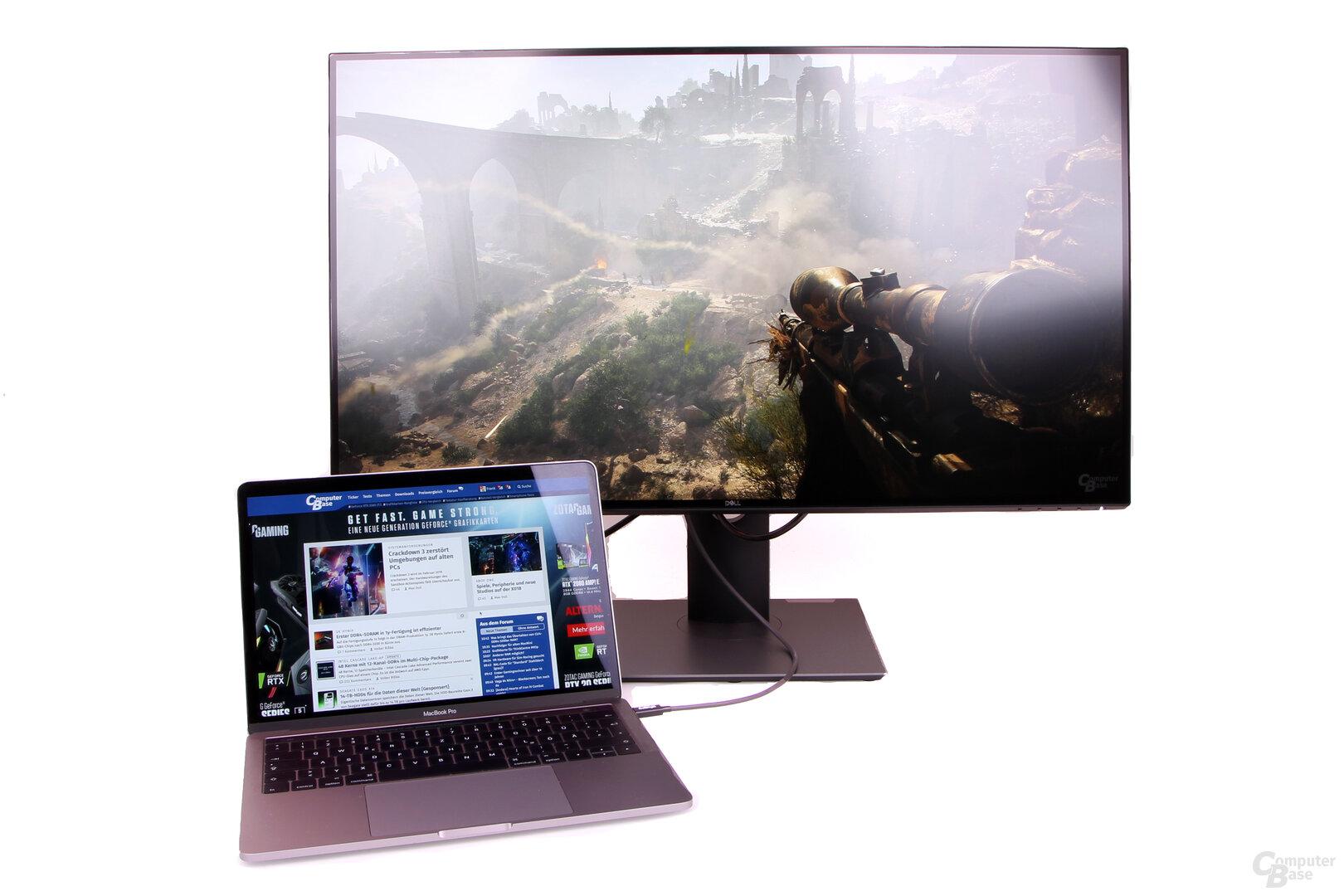 Dell UltraSharp U3219Q: Über USB-C wird auch das Notebook geladen