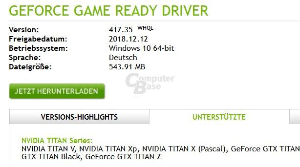 """Beim """"alten"""" GeForce 417.35 stand die Titan RTX noch nicht dabei (via Google-Cache)"""