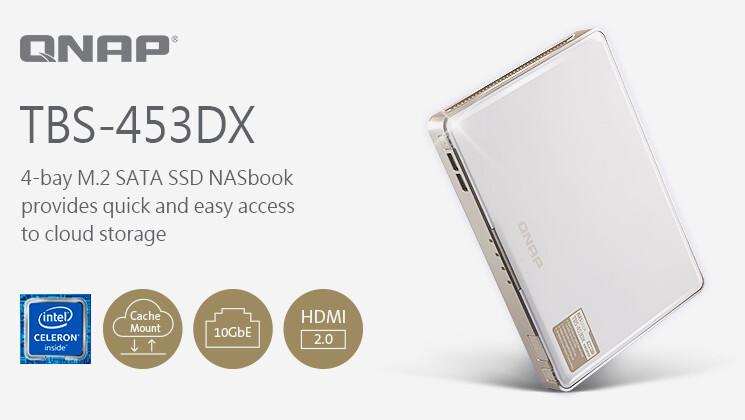 QNAP TBS-453DX: Mobiles NAS mit M.2 SSDs, 10 GbE und Cloud-Anbindung