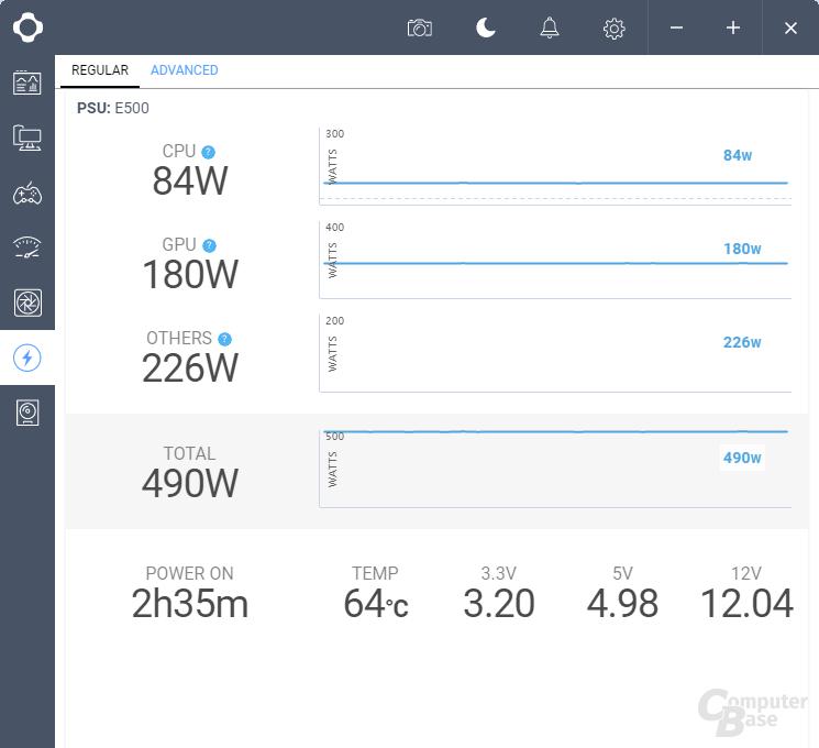 """NZXT E500 CAM-Software – Reiter """"Netzteil"""", Abschnitt """"Basic"""""""