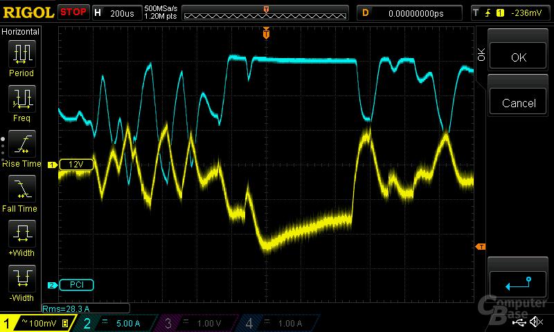 be quiet! Straight Power 11 550W – Spannungsripple an 12-Volt-PCIe-Anschluss (Normallast)