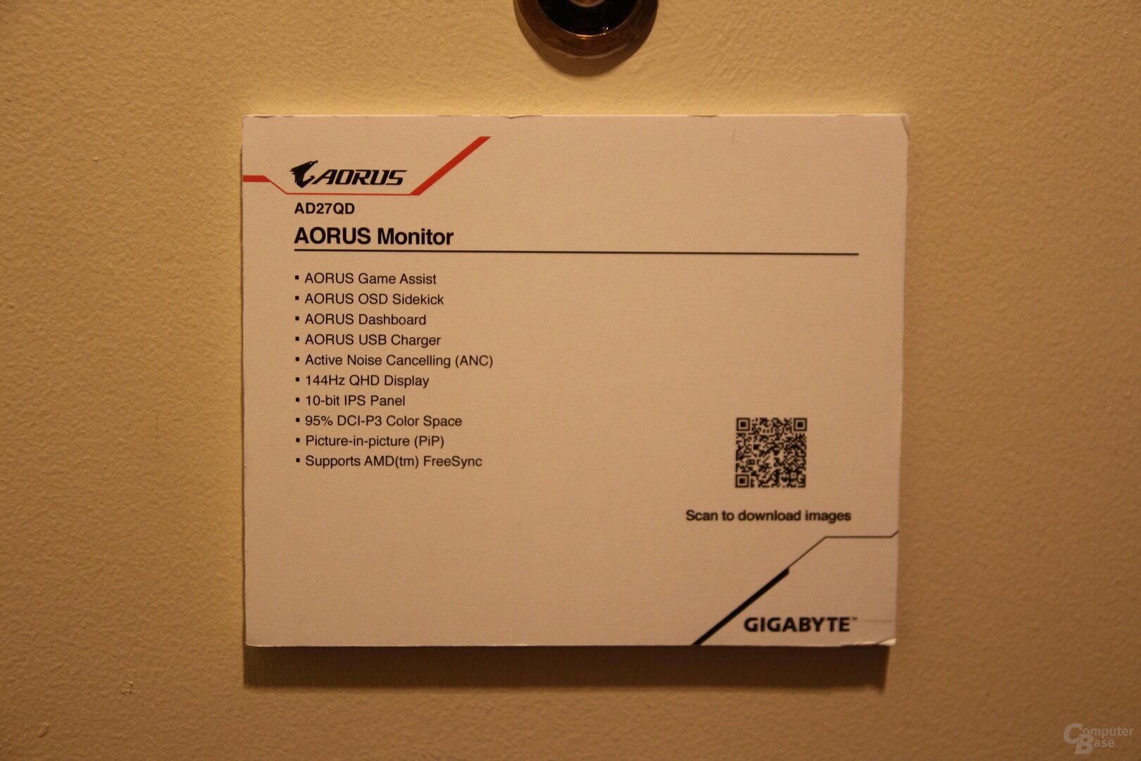 Gigabyte Aorus AD27QD: 27-Zoll-Monitor mit 144 Hz, IPS und