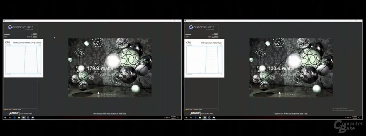AMD-Demo von Ryzen 3000: Links Intel Core i9-9900K, rechts AMD Ryzen 3000 Engineering Sample
