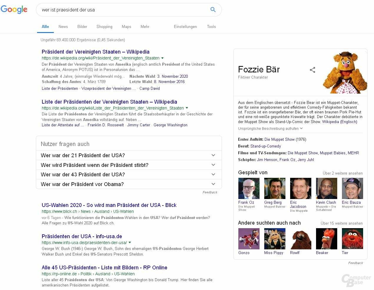 Informationen lassen sich bei Googles Websuche leicht verändert
