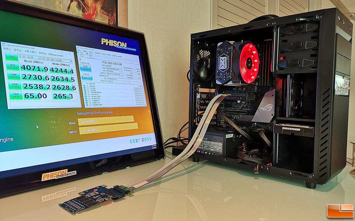 Das Demosystem nutzt eine Adapter-Karte, die PCIe 3.0 auf PCIe 4.0 überführt