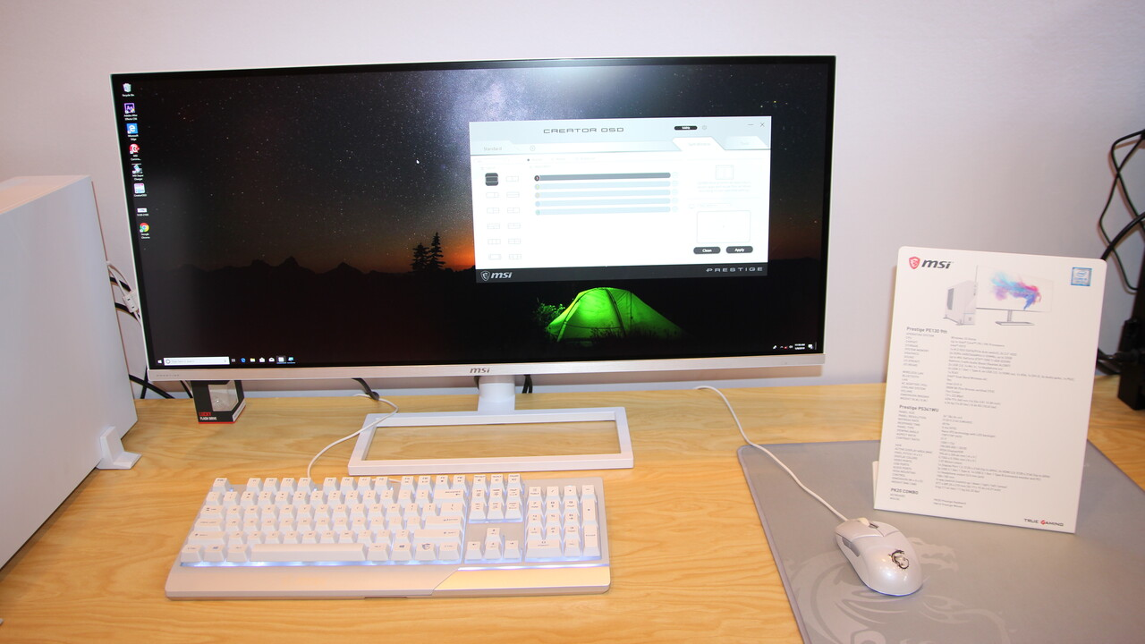 MSI Prestige PS341WU: Monitor mit 34 Zoll, 5.120 × 2.160 Pixel, 21:9 und Nano IPS