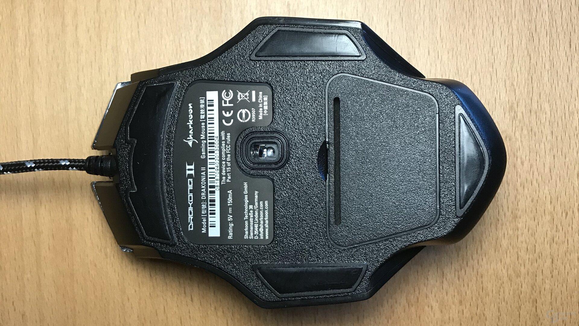 Den Sensor platziert Sharkoon ein wenig zu Daumenseite verschoben