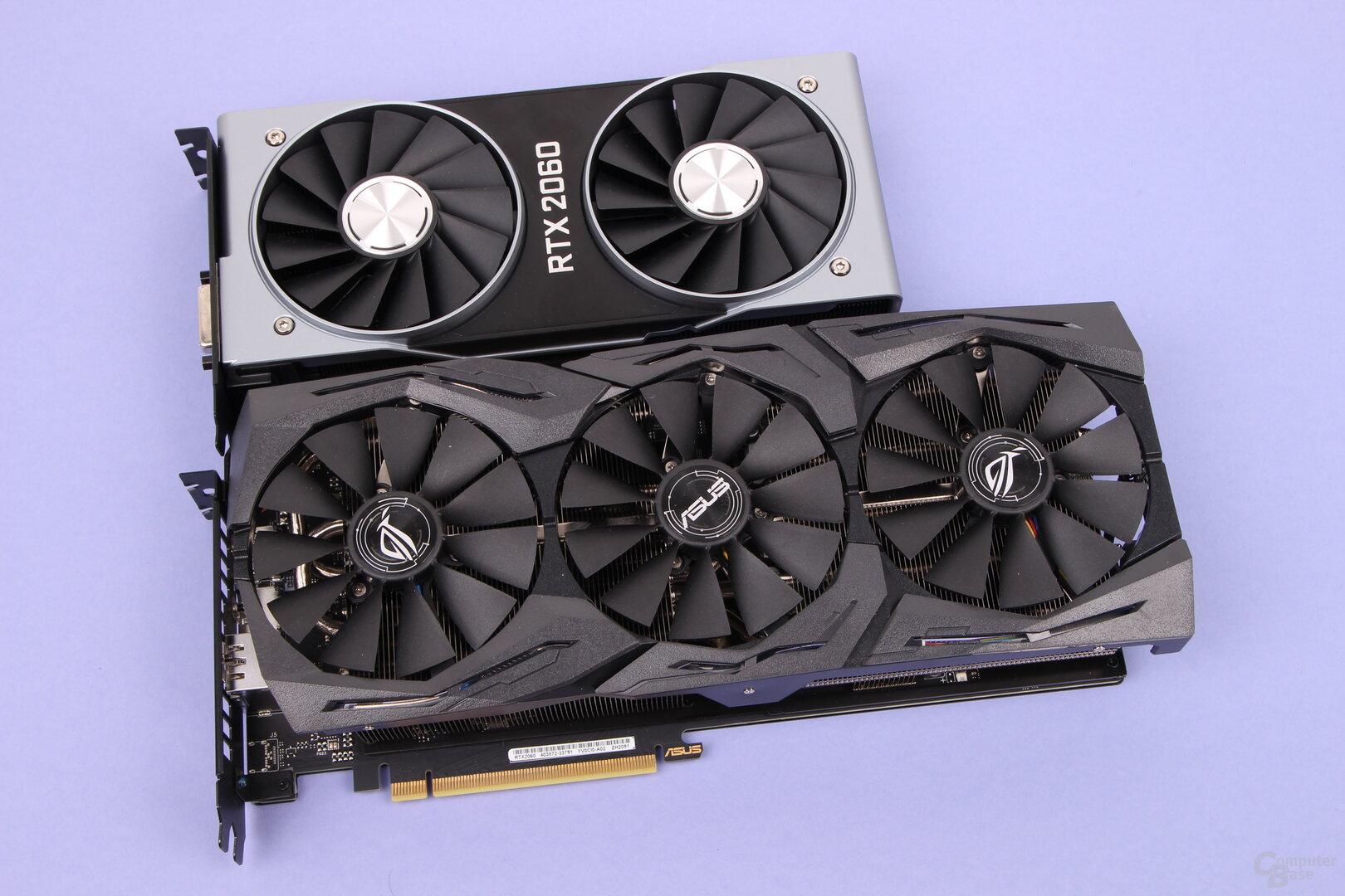 GeForce RTX 2060 FE (oben) und Asus RTX 2060 Strix OC (unten)