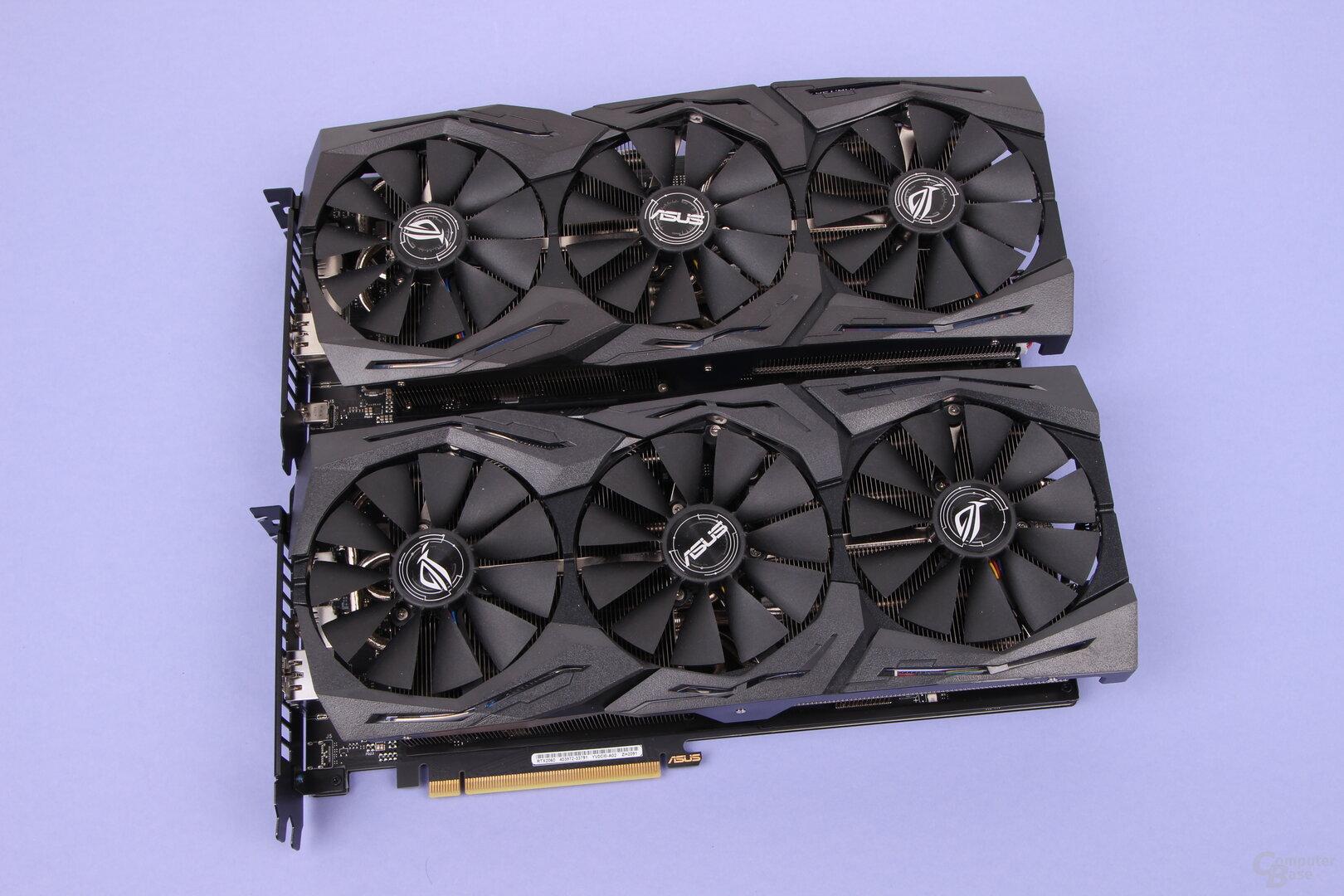 Asus GeForce RTX 2070 Strix (oben) und Asus RTX 2060 Strix OC (unten)