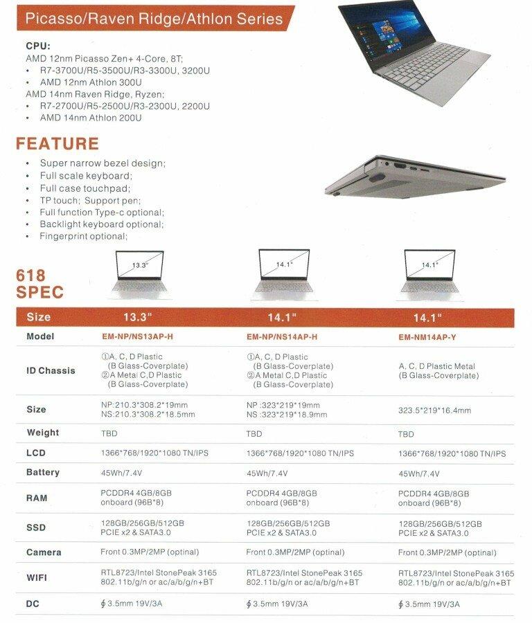 Emdoor-Notebooks mit AMD-APUs