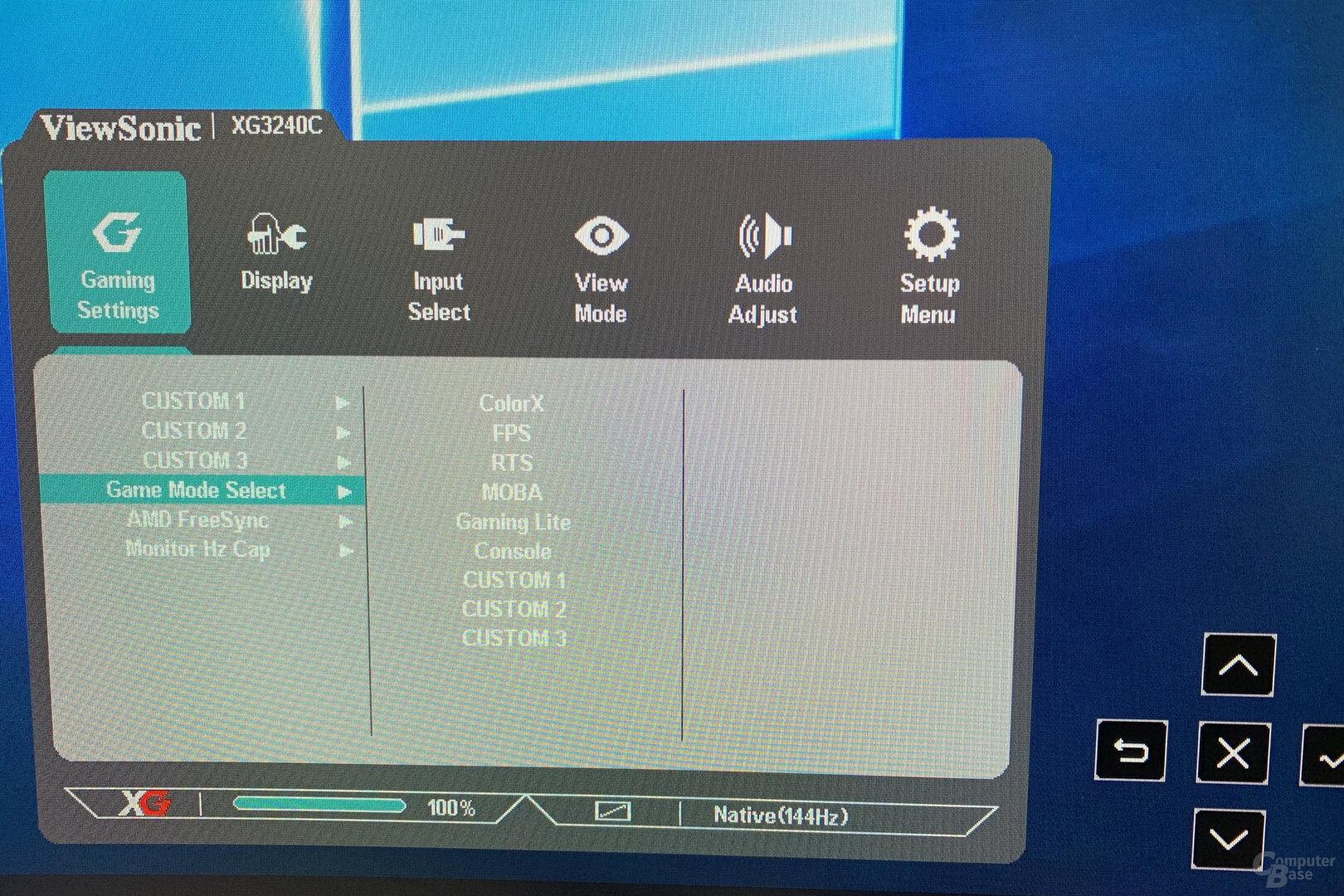 OSD des ViewSonic XG3240C