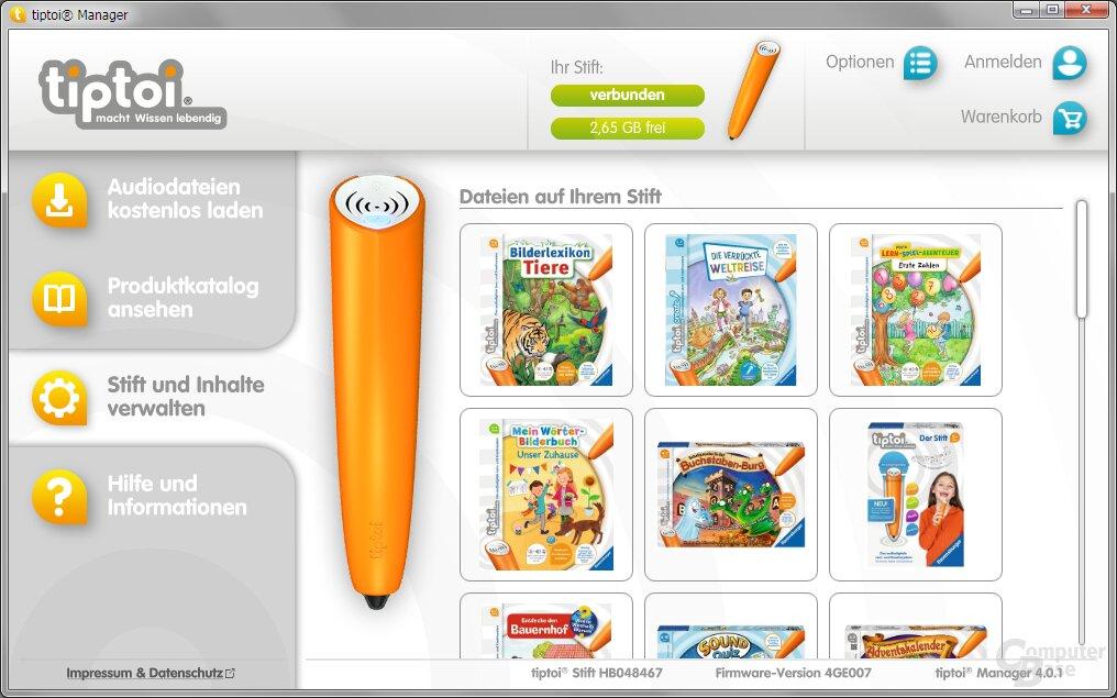 Der Tiptoi Manager bietet eine gute Übersicht über die sich auf dem Stift befindlichen Inhalte