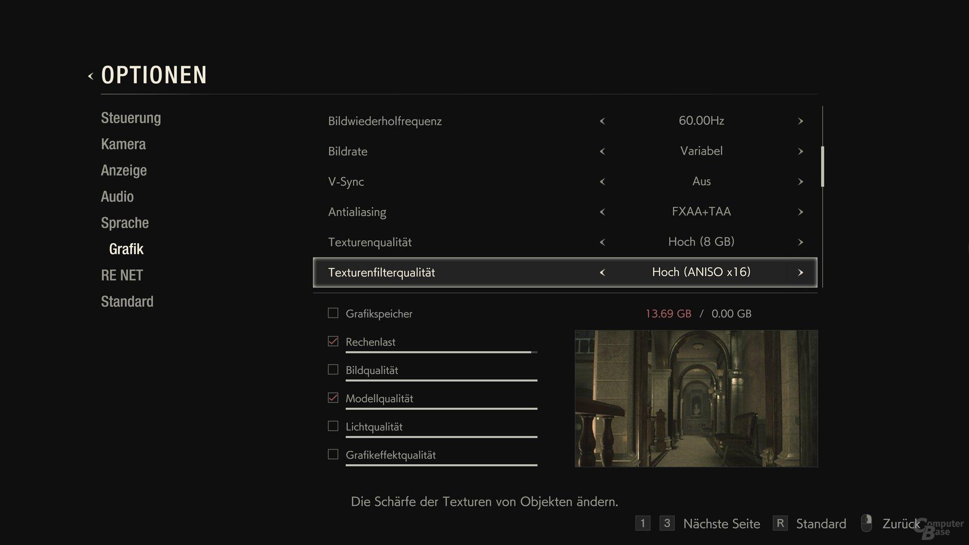Das Grafikmenü von Resident Evil 2