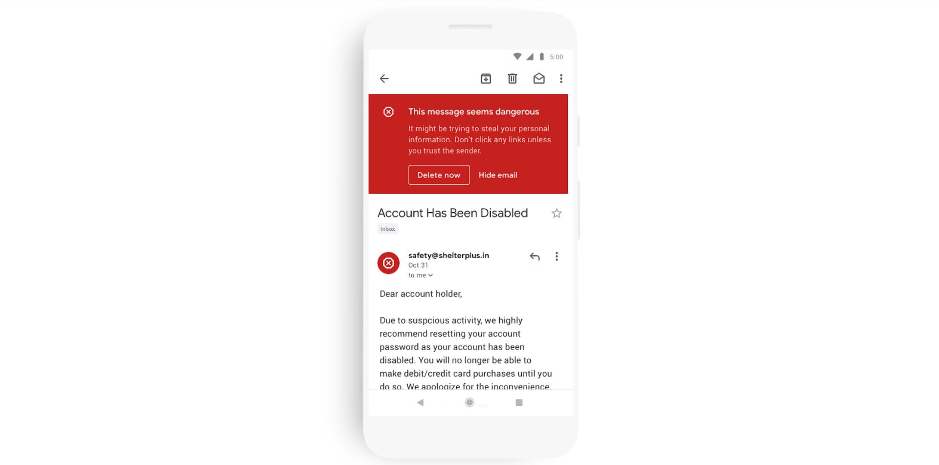 Gmail Warnung