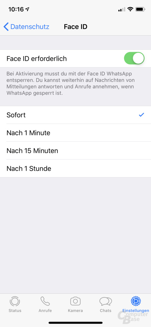 WhatsApp mit Face-ID- und Touch-ID-Sperre
