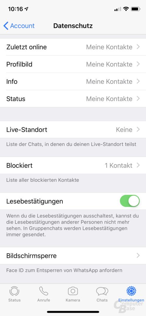 whatsapp sperren