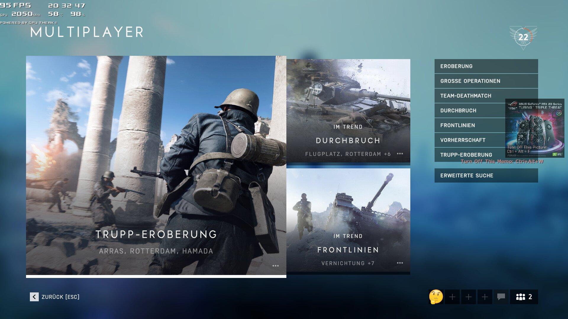 Werbeanzeige für Nvidia-GeForce-RTX-Grafikkarten im Overlay