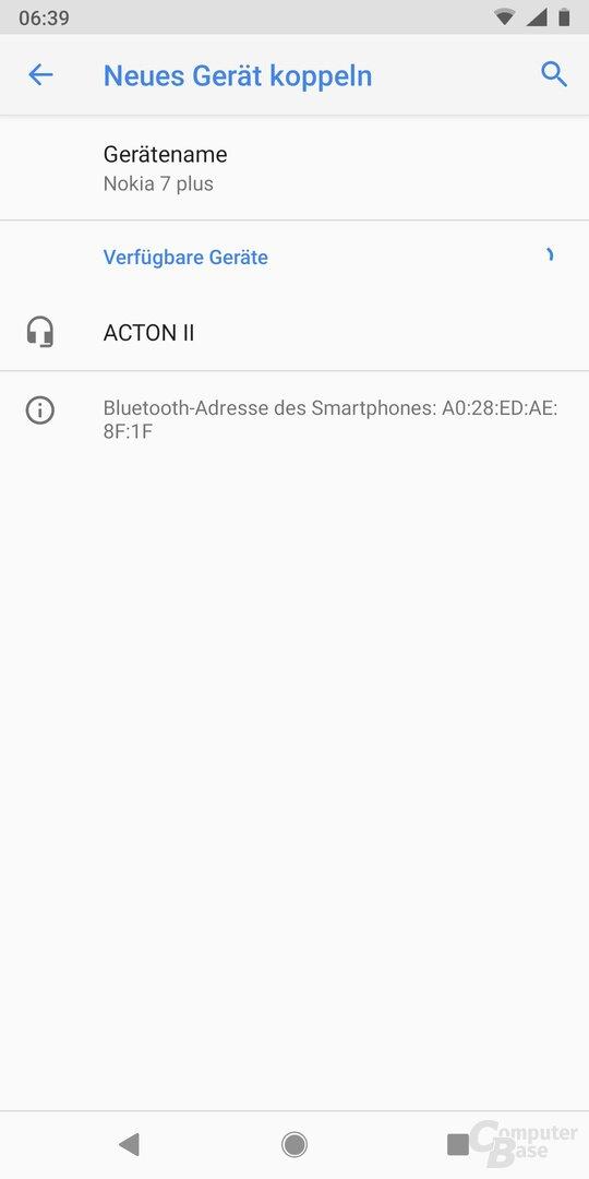 In den Bluetooth-Einstellungen wird der Marshall sofort gefunden